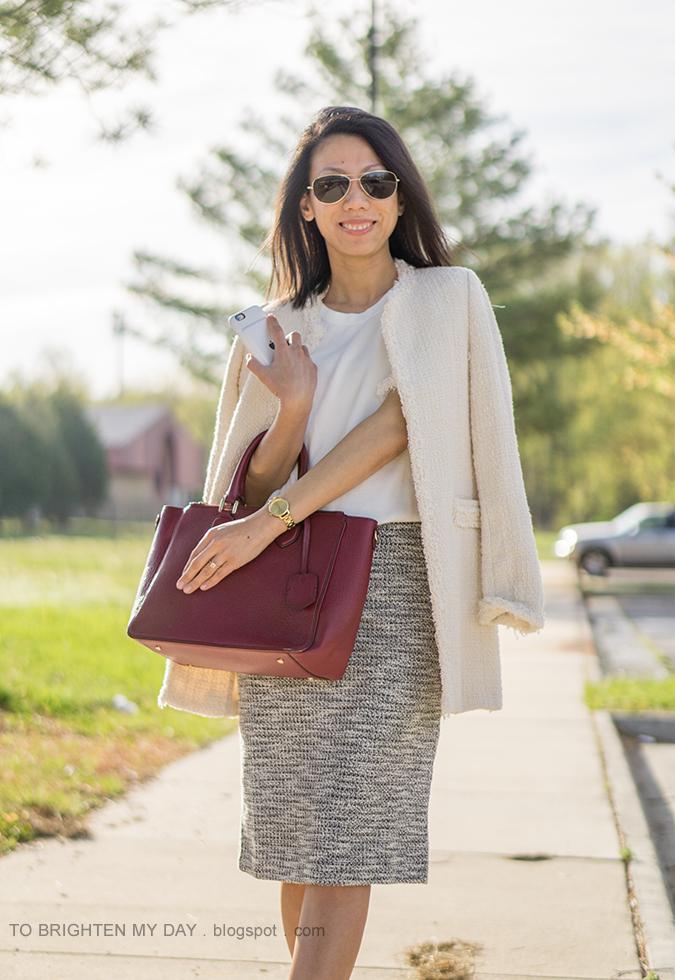 beige tweed jacket, fringe sweater tee, marled knit pencil skirt, burgundy tote, gold watch