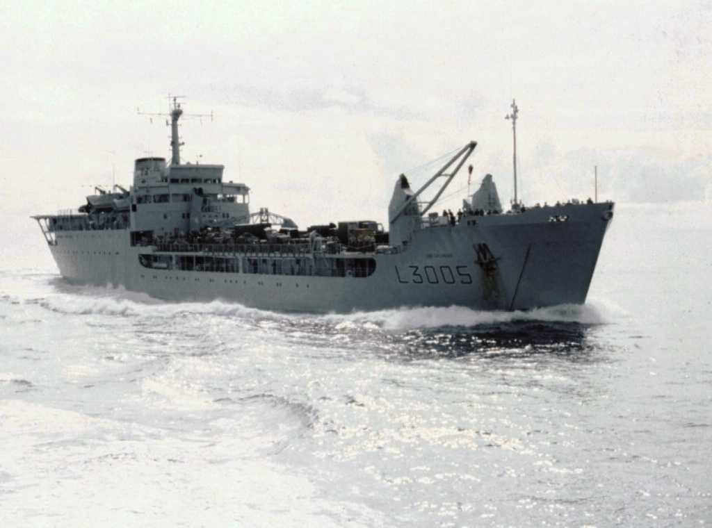 RFA Sir Galahad heading south in May 1982.