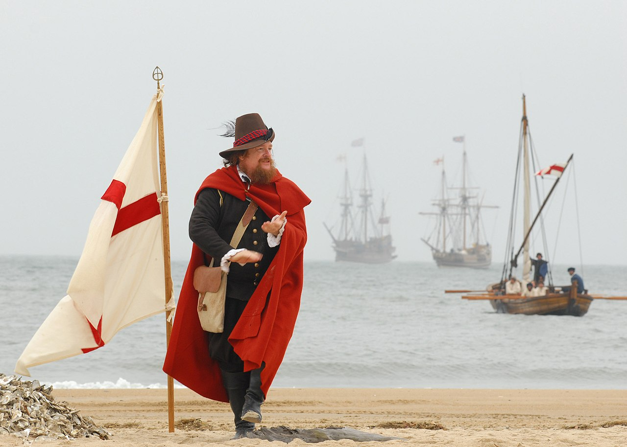 John Smith, played by Dennis Farmer, claims the beach for England during a re-enactment ceremony on the 400th anniversary of the First Landing in the,