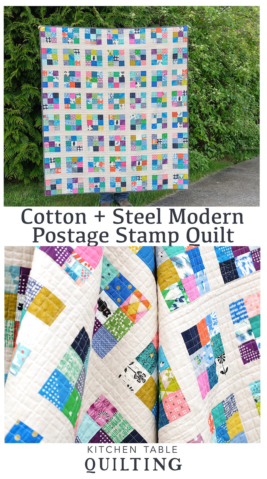 Cotton + Steel Modern Postage Stamp Quilt - Kitchen Table Quilting