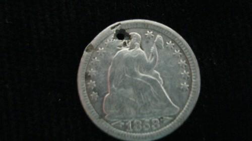Holed 1853 Half Dime