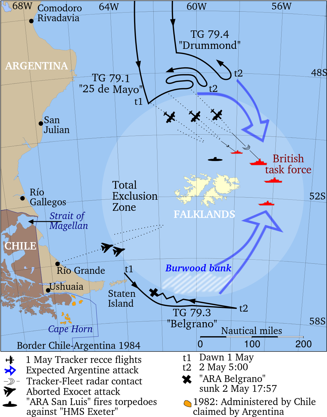 Map of the Total Exclusion Zone during the Falkland Islands War, 1982.