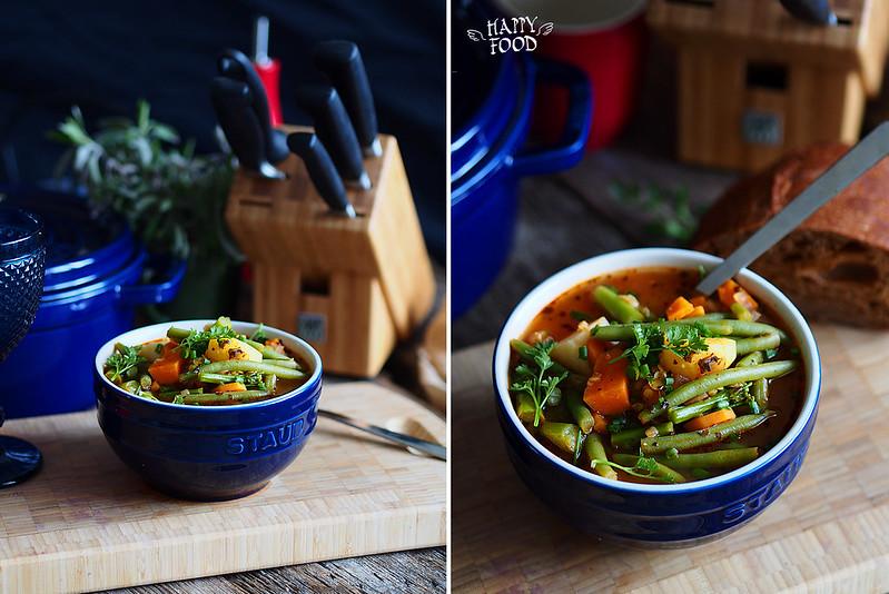 Овощной суп со спаржей и стручковой фасолью (Готовлю в чугуне Staub)