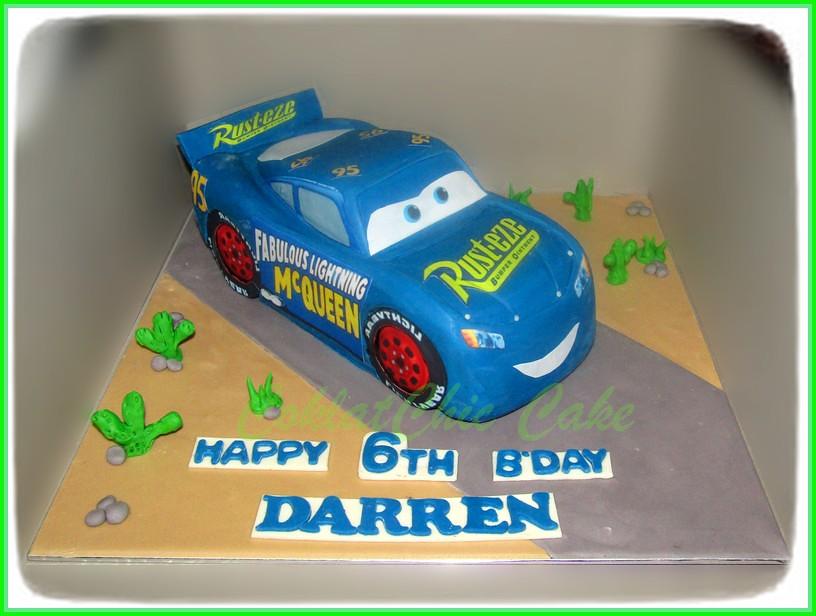 cake cars McQueen Biru DARREN 30 cm
