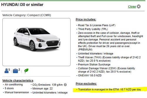 Car Rental Exclusion Translation Is Managed In The Etm 18 64 Nzd