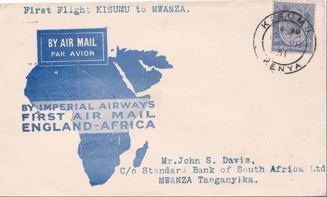 Cover carried by Imperial Airways flying boat on the first flight between Kisumu, Kenya, and Mwanza, Tanganyika, in 1937.