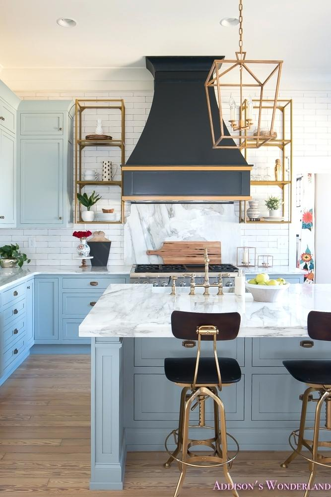 Blue Gray Kitchen Cabinets Marble Countertops White Subway Tile Backsplash Gold Hardware Black Stove Hood Home Design