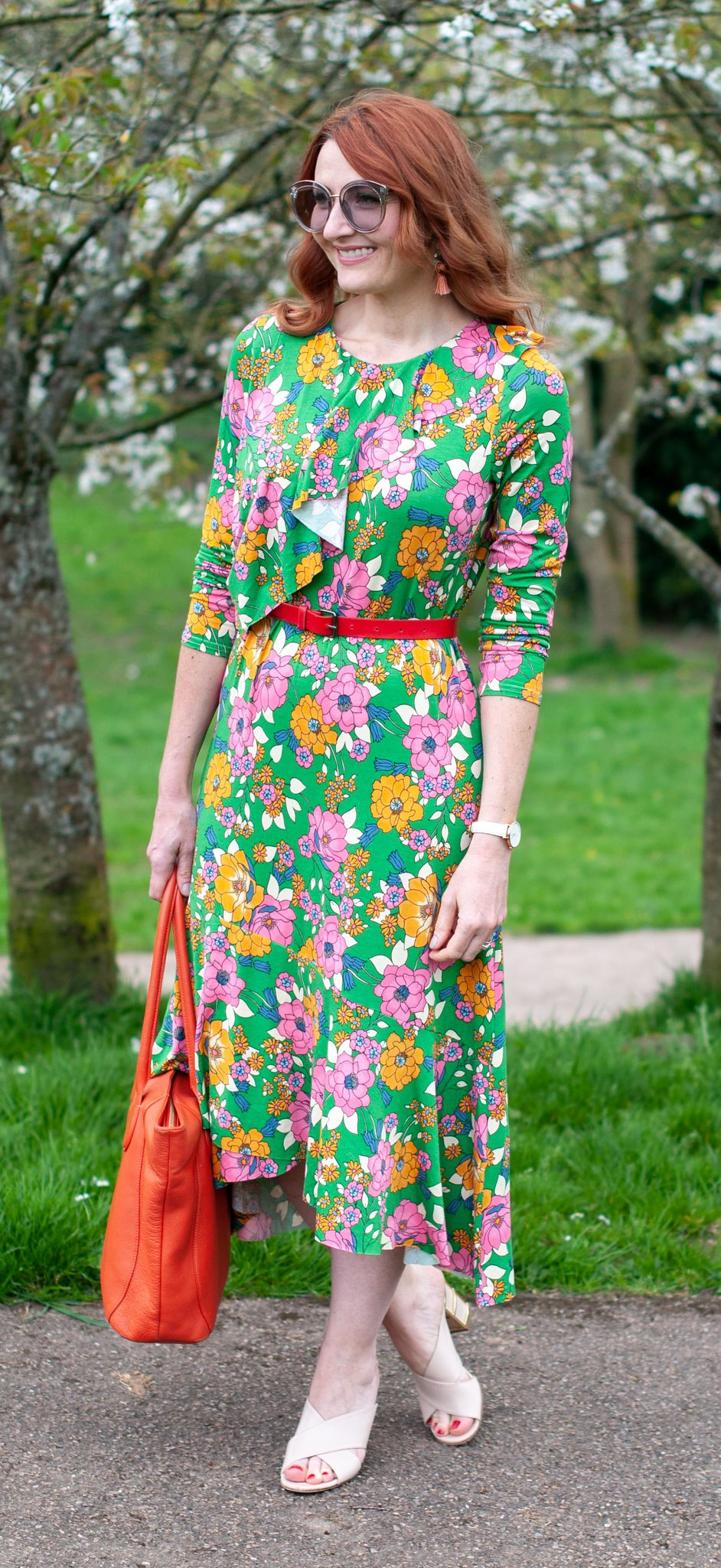 Wearing a Psychedelic Florals for Spring Dress: 60 style floral midi dress with asymmetric hem \ summer style \ bright colours \ outfit of the day \ ootd | Not Dressed As Lamb, over 40 style