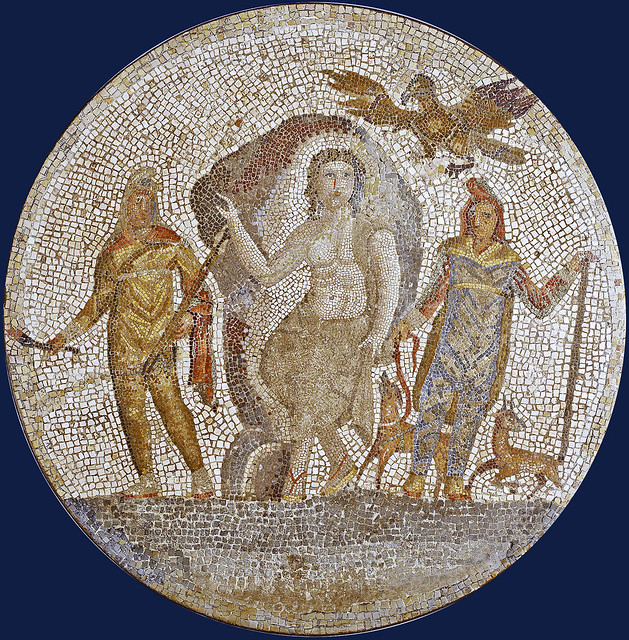 Mithras, birth of with Cautes, Cautopates & raven 3ds fl Roman mosaic fragment [1st cent CE] - Baltimore, Walters AM