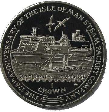 Isle of Man 1-crown coin issued in 2005 to mark the 175th anniversary of the Isle of Man Steam Packet Company.