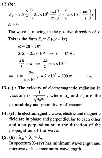 NEET AIPMT Physics Chapter Wise Solutions - Electromagnetic Waves explanation 12,13,14,15