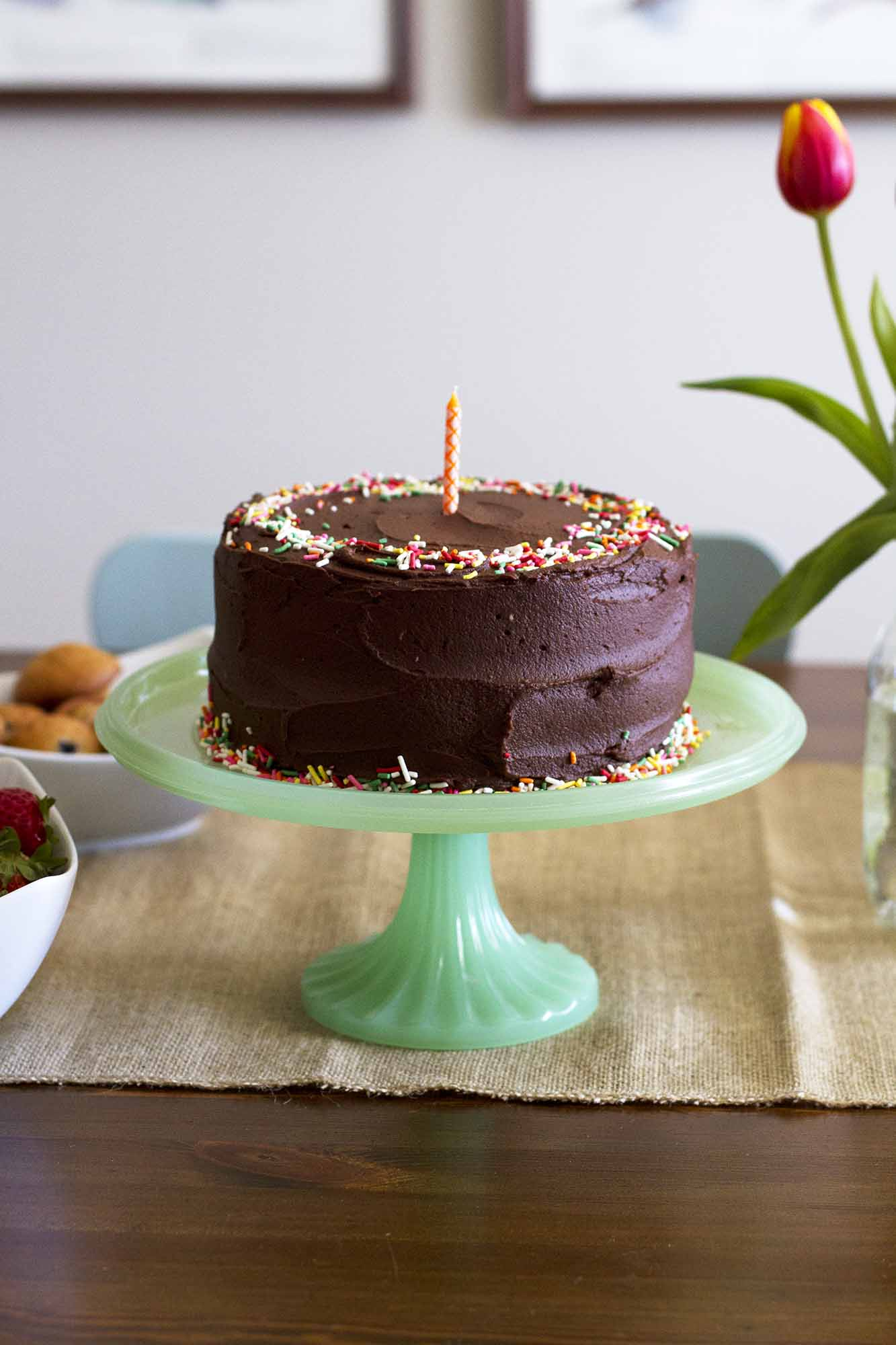Yellow Birthday Cake with Chocolate Buttercream Frosting | girlversusdough.com @girlversusdough