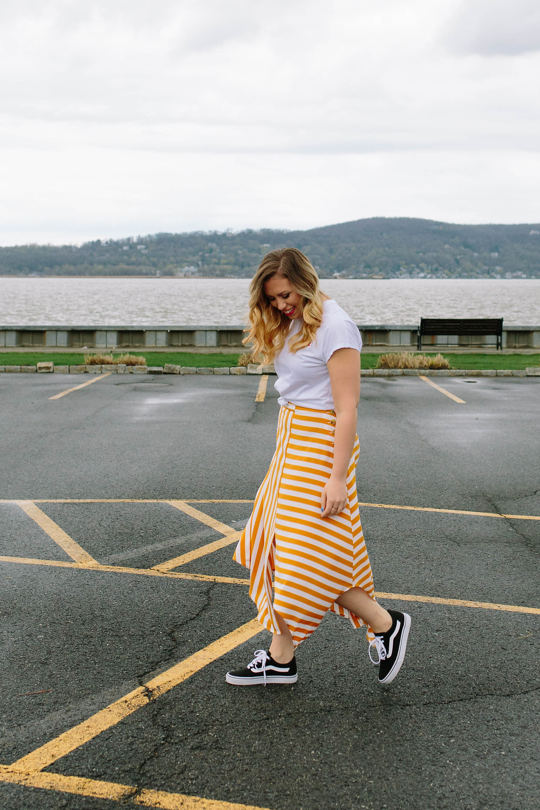 How to Dress Down a Midi Skirt Topshop Button Handkerchief Hem Midi Striped Skirt Watermelon Purse Bag Vans Old Skool Sneakers Jackie Giardina Living After Midnite Blog