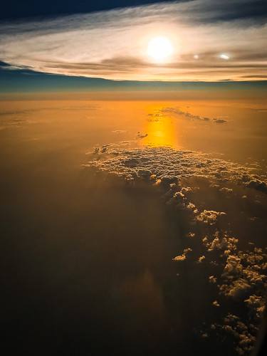 Gulf of Mexico's sunrise at 25,000 ft.