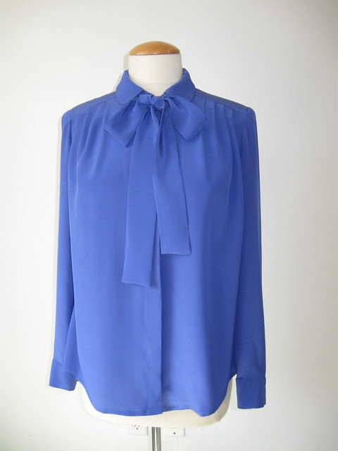 blue silkblouse with bow