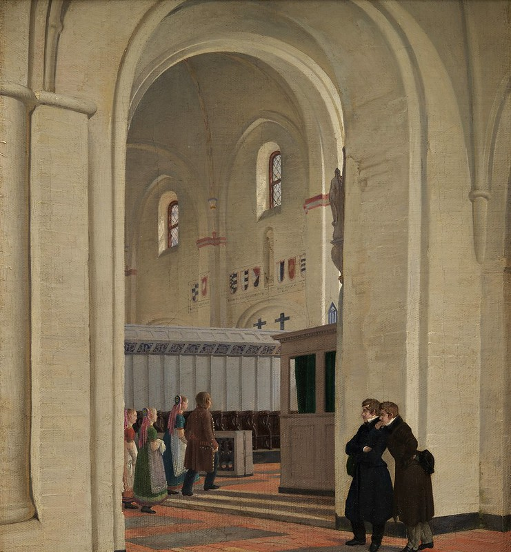 Constantin Hansen - Parti af det indvendige af Ringsted Kirke. I forgrunden Constantin Hansen og Jørgen Roed (1829)