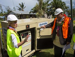 Foreign Minister Bishop and Public Enterprise Minister Hon Saia Piukala view heavy duty power generator provided by Australia as part of its recovery response