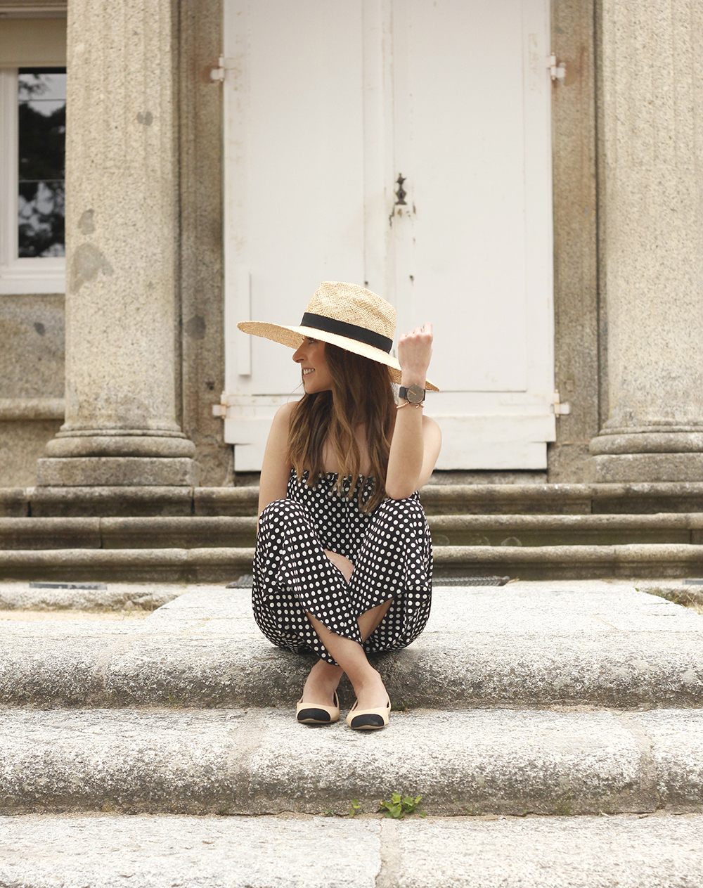 polka dot jumpsuit straw hat flat shoes street style spring outfit 201811
