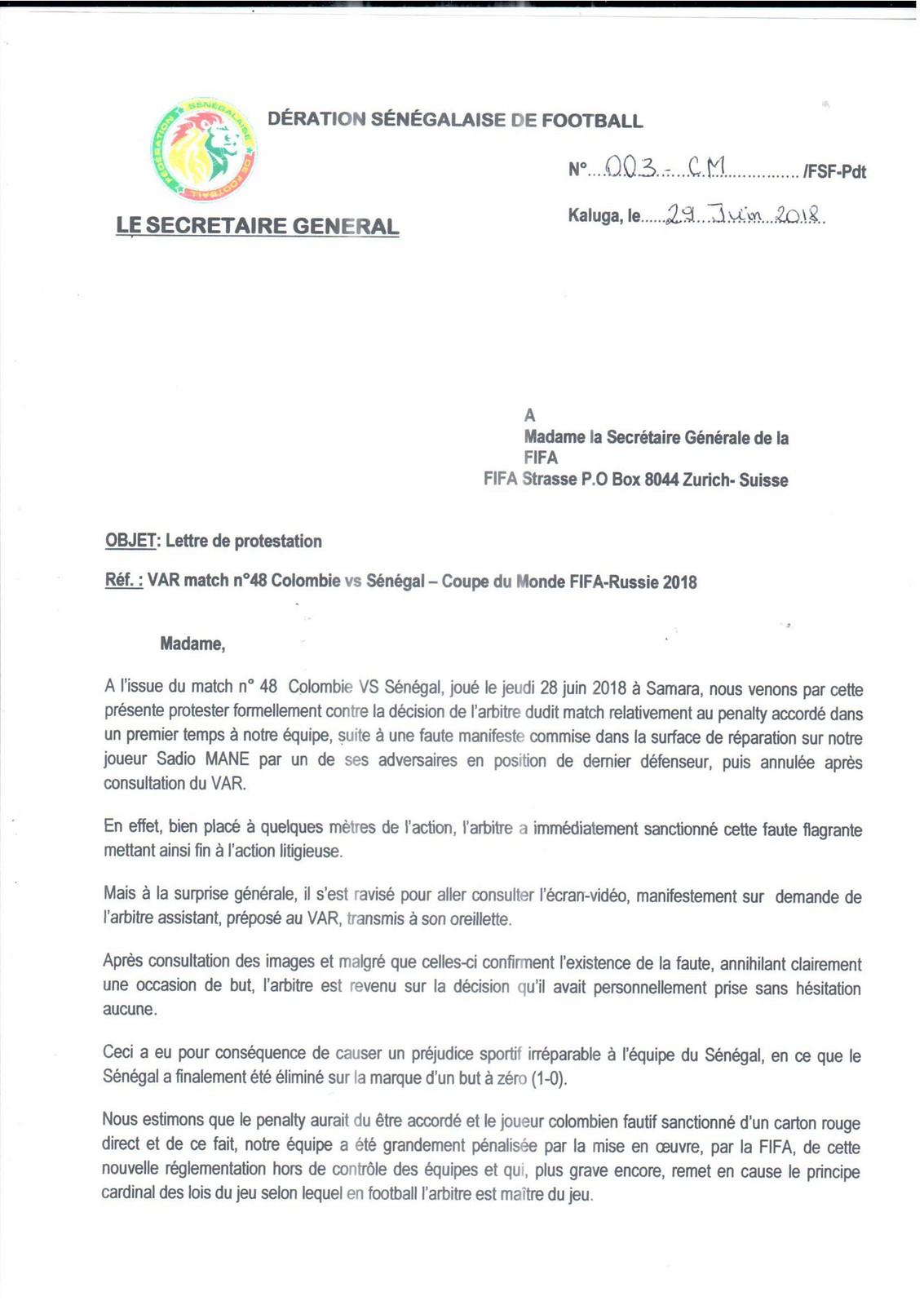 Lettre de Protestation de la Fédération Sénégalaise de Football adressée à la FIFA (2)