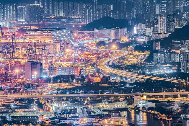 Night of Kwai Tsing District, Hong Kong