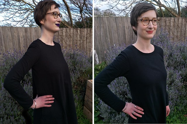 Two images of a woman standing in front of a garden fence, wearing nearly identical black dresses. She showcases the differing armscyes.