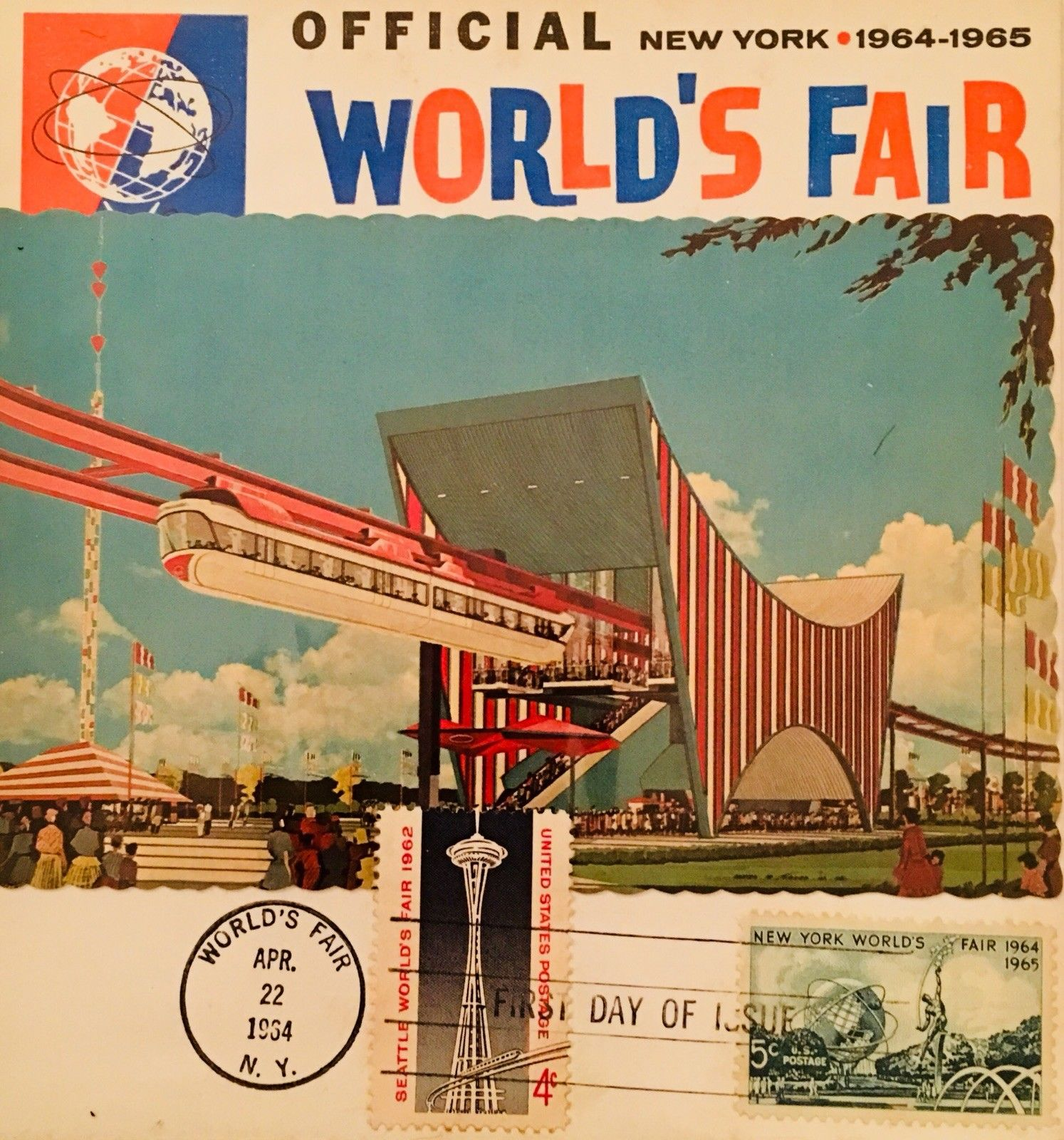 Square-shaped maximum card from the 1964-1965 New York World's Fair bearing U.S. Scott #1244 released on April 22, 1964, as well as the stamp issued for the 1962 Century 21 Exposition (Seattle World's Fair), released on April 21, 1962 (Scott #1196).