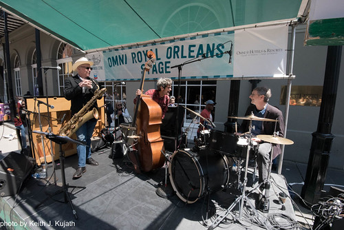 Joe Cabral Trio on Day 4 of French Quarter Fest - 4.15.18. Photo by Keith Kujath.