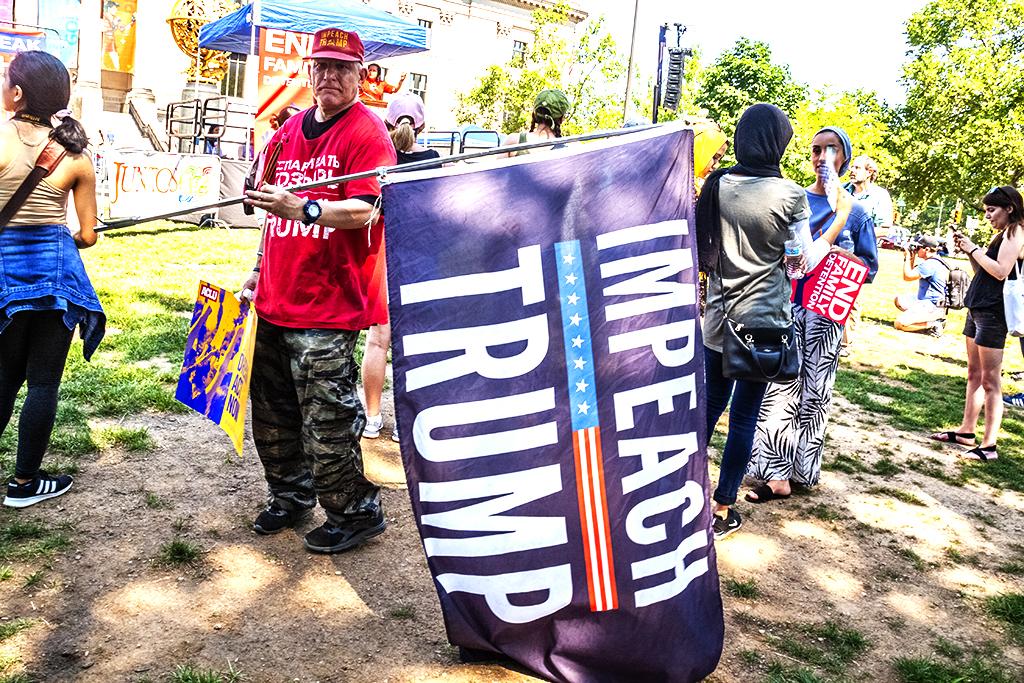 Man with IMPEACH TRUMP flag--Logan Circle