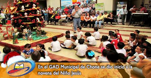 En el GAD Municipal de Chone se dio inicio a la novena del Niño Jesús