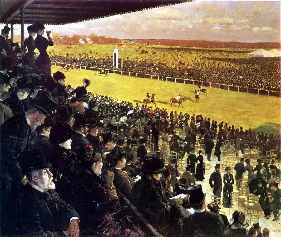 The Races at Longchamps from the Grandstand by Giuseppe de Nittis, 1883