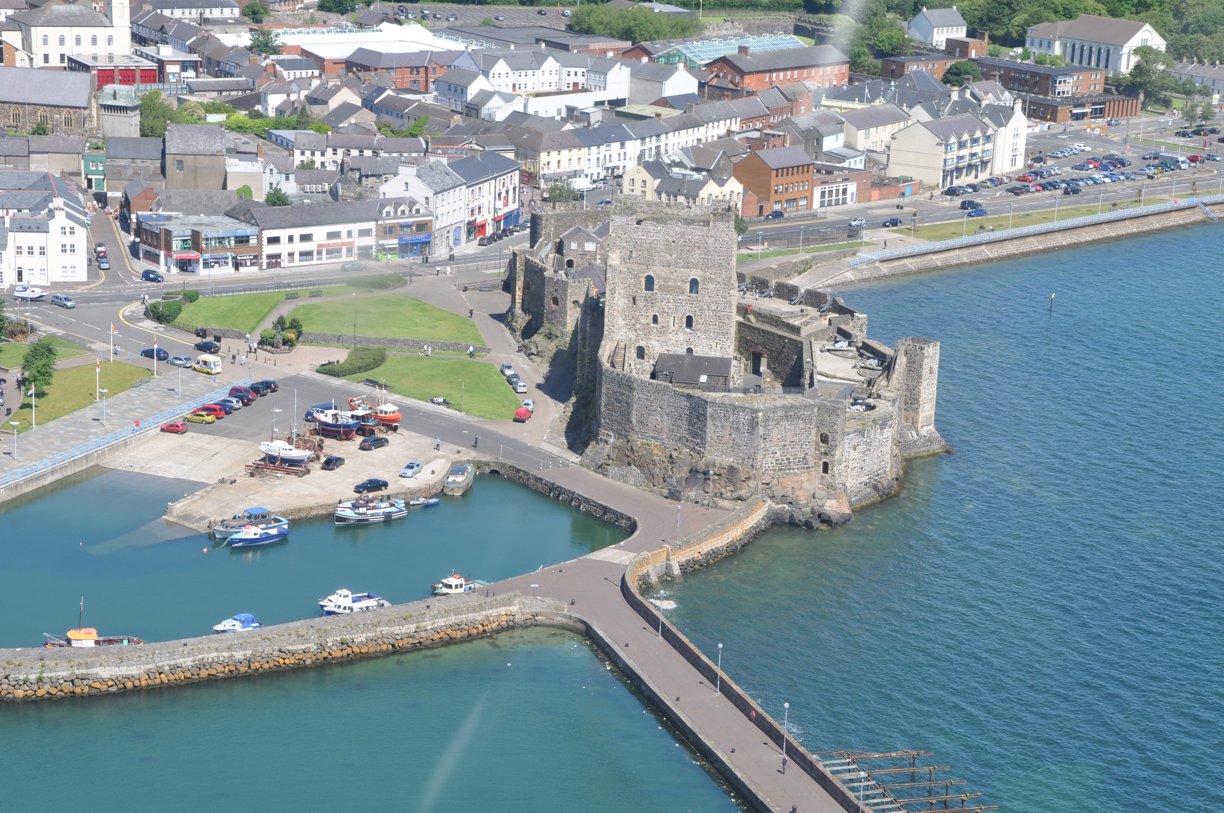 Aerial view of Carrickfergus Castle and town. Photo taken on June 23, 2009.