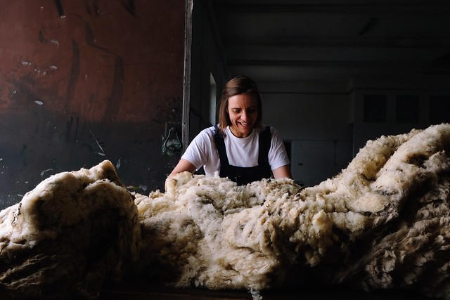 sorting and grading wool