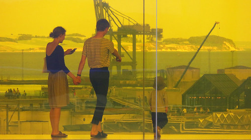 Aarhus ARoS Modern Art Museum: the yellow family on the 'Rainbow Walk'