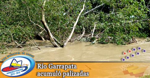 Río Garrapata acumuló palizadas