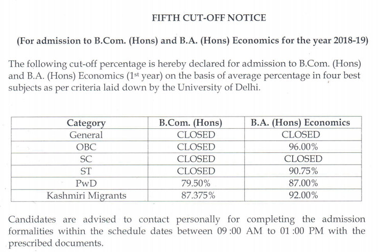 SRCC 5th cut off 2018