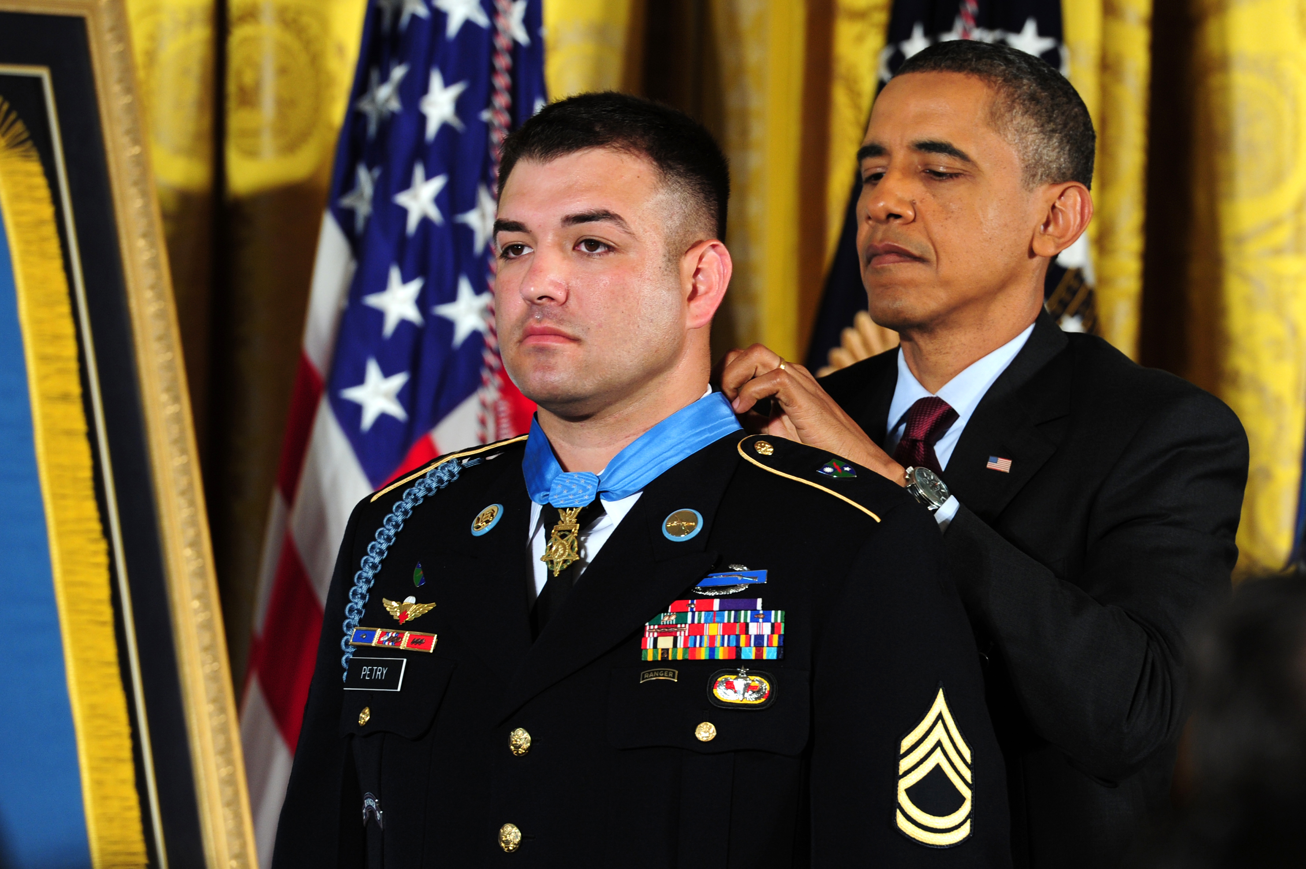 U.S. President Barack H. Obama awards the Medal of honor to US Army Sergeant First Class Leroy Arthur Petry, 75th Ranger Regiment, for his valor in Afghanistan at the White House, Washington D.C. on July 12, 2011. (U.S. Army Photo by Spc. David M. Sharp, AMVID)