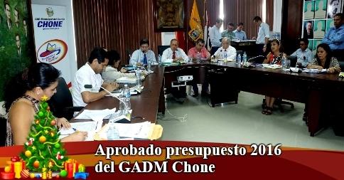 Aprobado presupuesto 2016 del GADM Chone