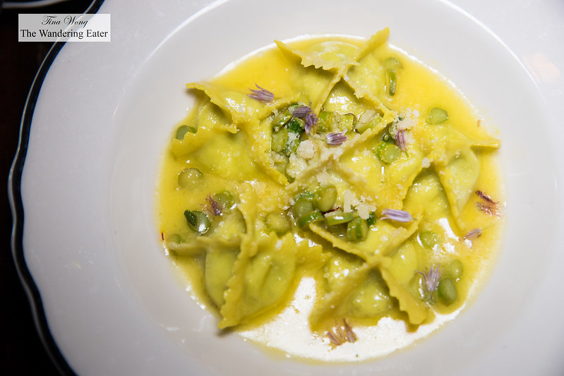 Ricotta and nettle manti, asparagus, saffron butter