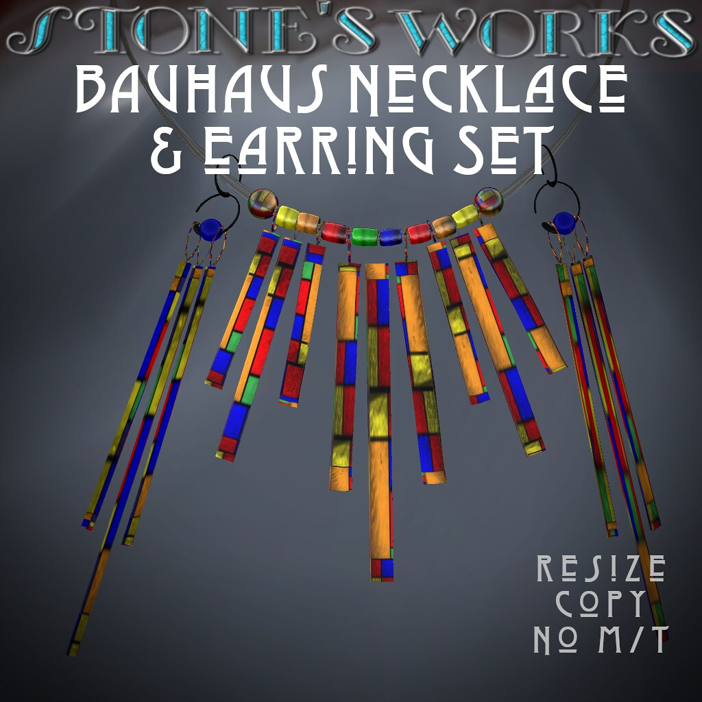 Bauhaus Necklace & Earring Set Stone's Works
