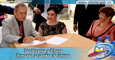 San Vicente y Chone firmaron acuerdos de límites