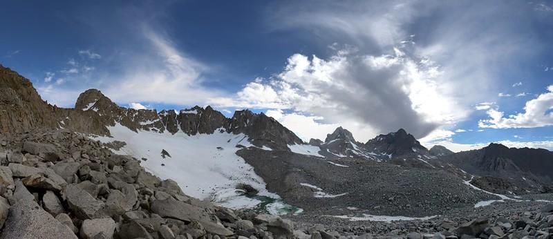 Sill, Polomonium, Starlight, North Palisade, Thunderbolt, Winchell, and Agassiz above the Palisade Glacier