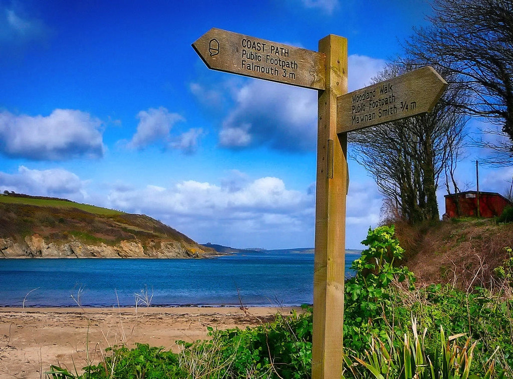 Signpost on the South West Coast Path at Bareppa, Cornwall. Credit Tim Green, flickr