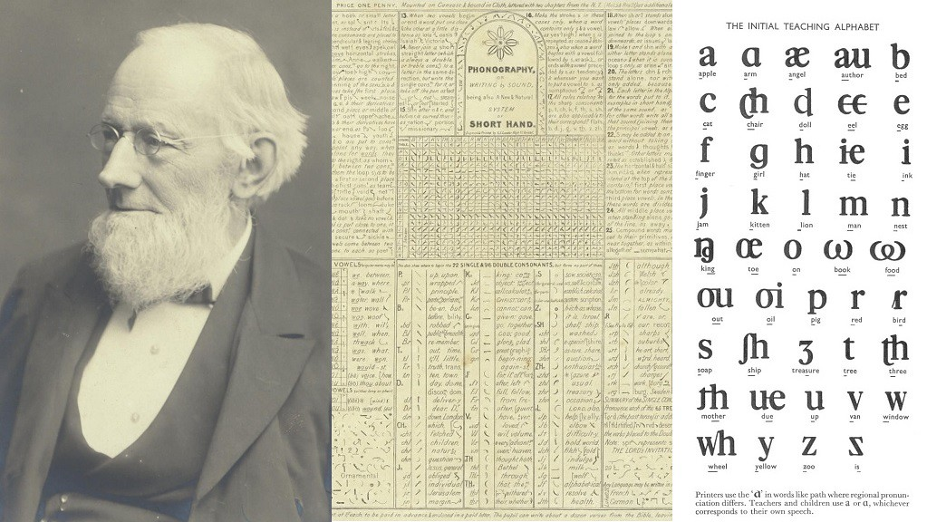 Sir Isacc Pitman with the image of the Intial Teaching alphabet and book cover of Phonography on Writing by Sound