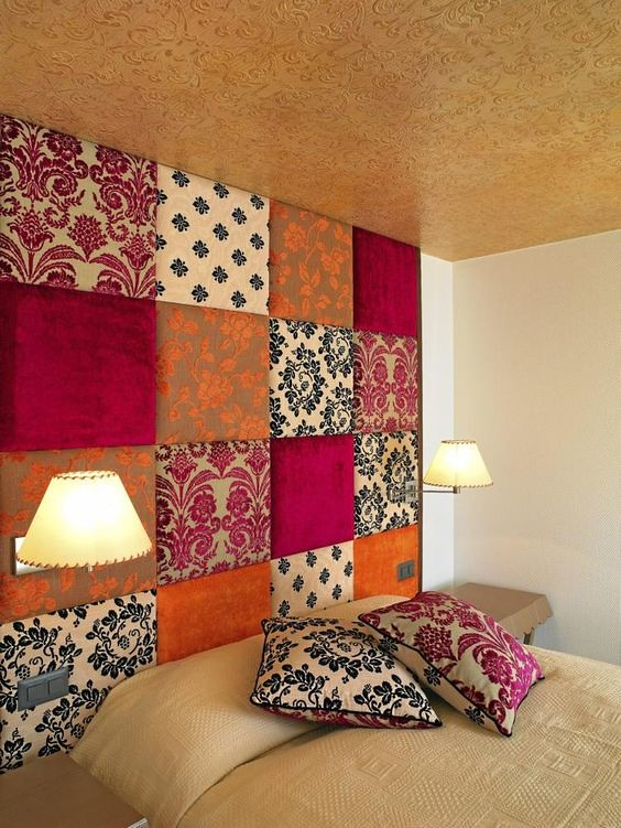 patchwork upholstered fabric wall panel to cover an ugly wall