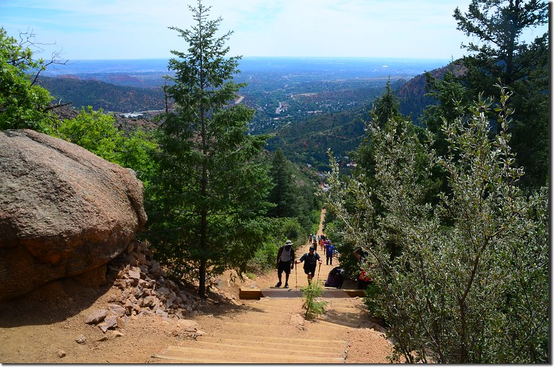 Looking down the Manitou Incline from the trail 2