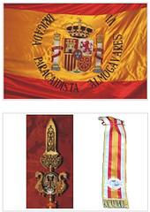 Conoce los #SímbolosEjércitodeTierra 'Bandera de la Brigada 'Almogávares' VI de #paracaidistas .