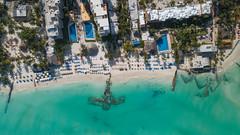 Luftbild vom Strand Playa Norte auf der Isla Mujeres