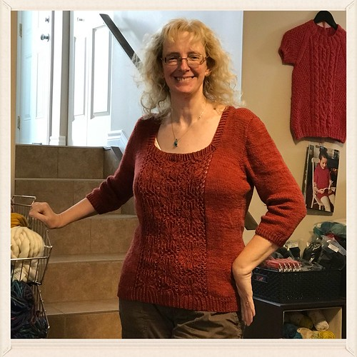 Linda's finished and blocked Spring in Her Path by Marie Annarella