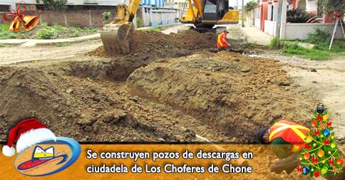 Se construyen pozos de descargas en ciudadela de Los Choferes de Chone
