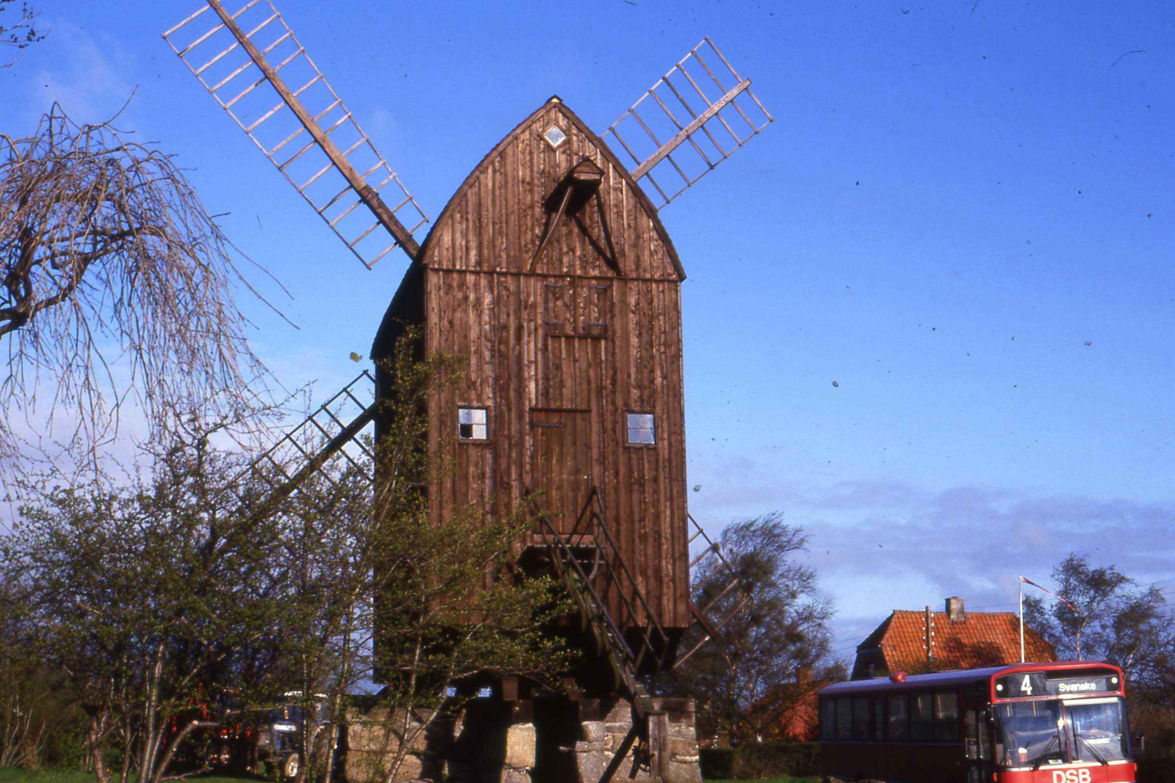 Wooden post mill in Svaneke, Denmark, the oldest in the country. Photo taken in April 1987.
